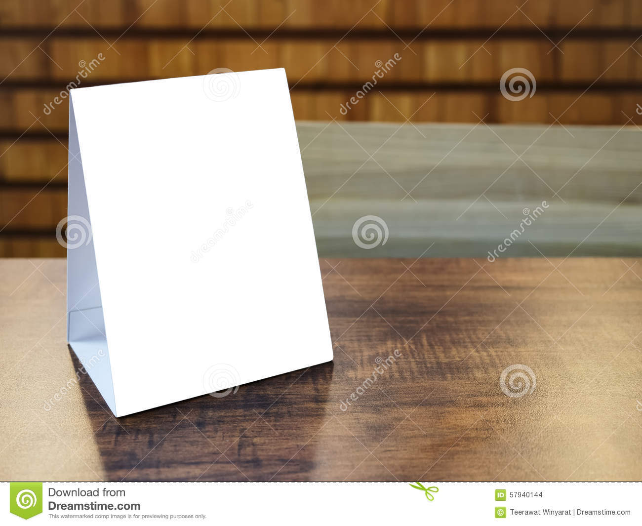 Mock Up Menu Frame Template On Table In Restaurant Cafe Stock Photo  Image of decor food 57940144