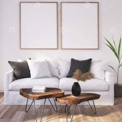 Bohemian Style Living Room Art Van Packages Mock Up Poster Frame In Home Interior Background Scandinavian