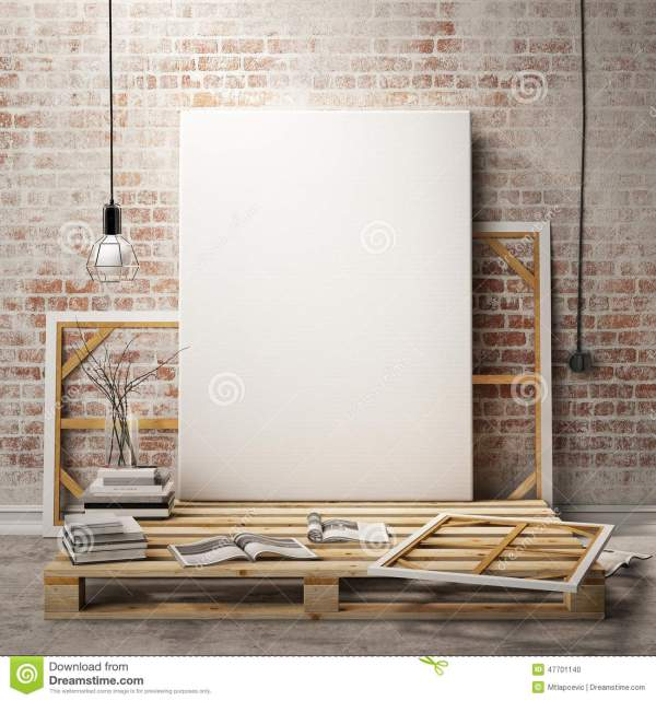 Mock Posters Frames And Canvas In Loft Interior Background Stock Illustration