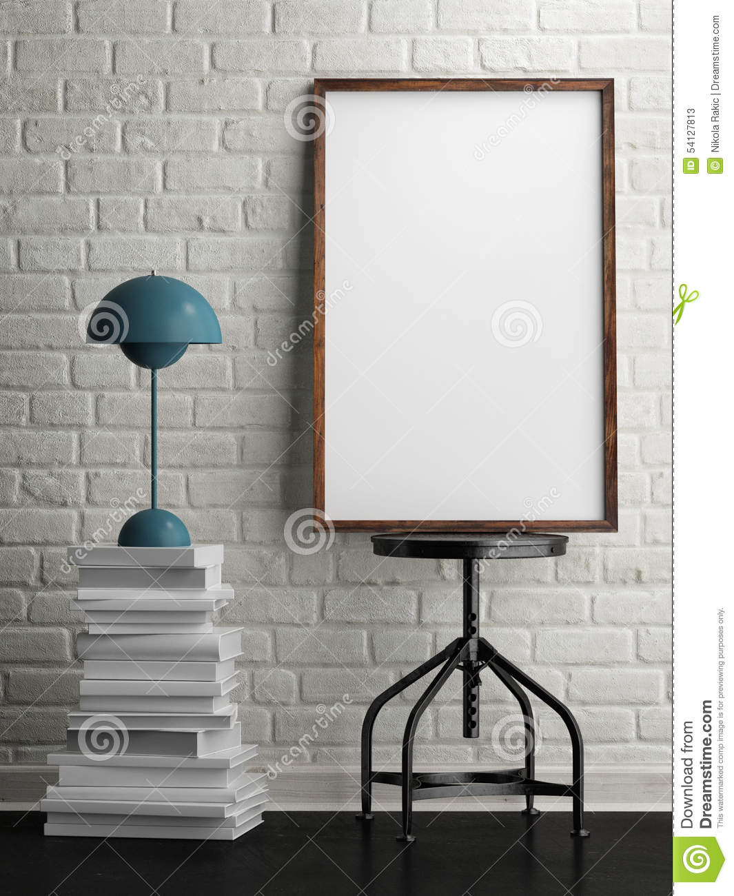 hanging chair metal tan leather mock up white frame in room, brick background, 3d illustration stock - image ...