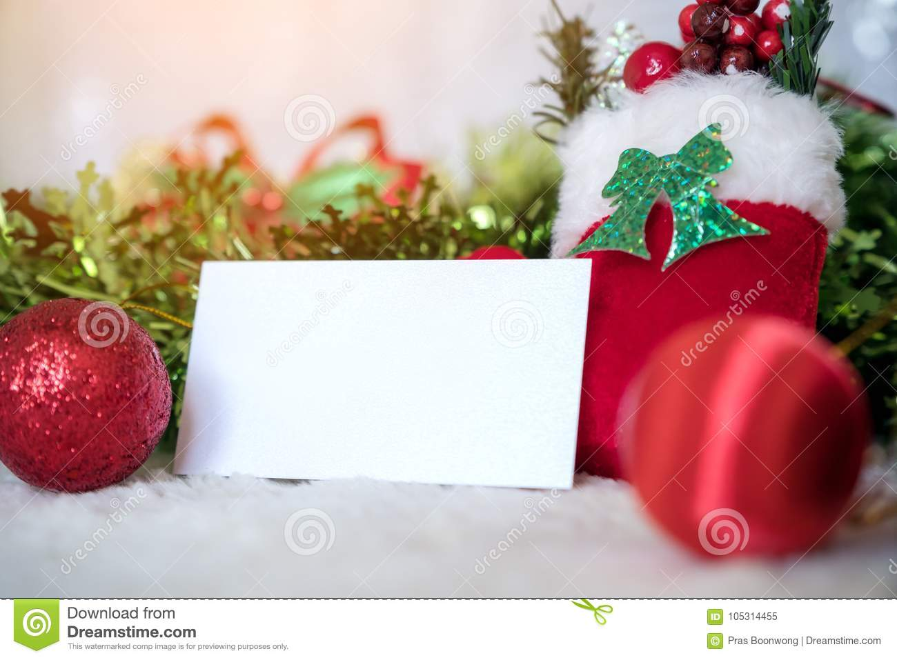Mockup Image Of White Blank Name Card With Christmas Decorations Stock Image Image Of Concept Balls 105314455
