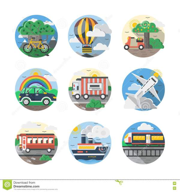 Mode Of Transport Color Detailed Icons Set Stock