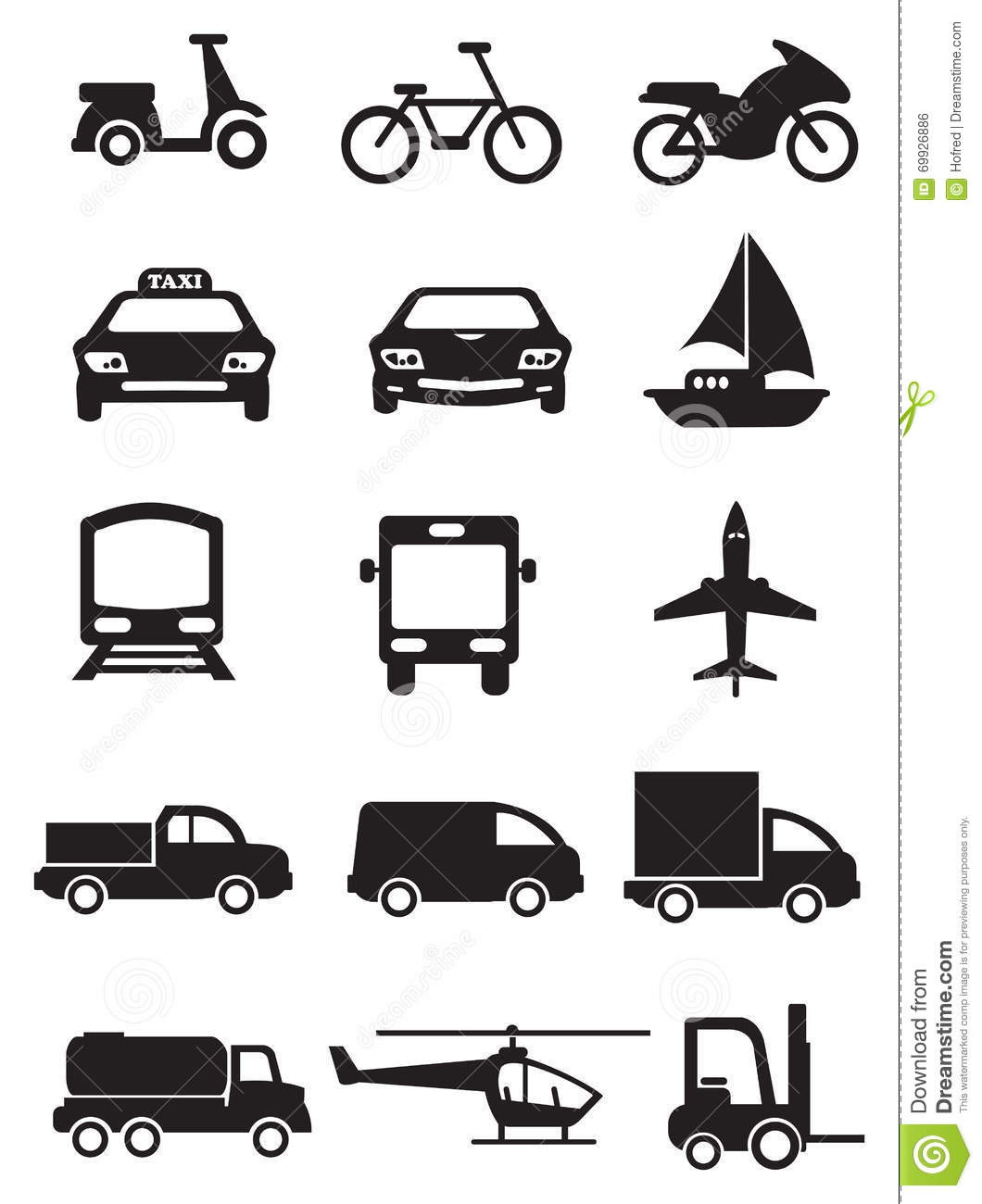 Mode Of Transportation And Vehicles Vector Icon Set Stock