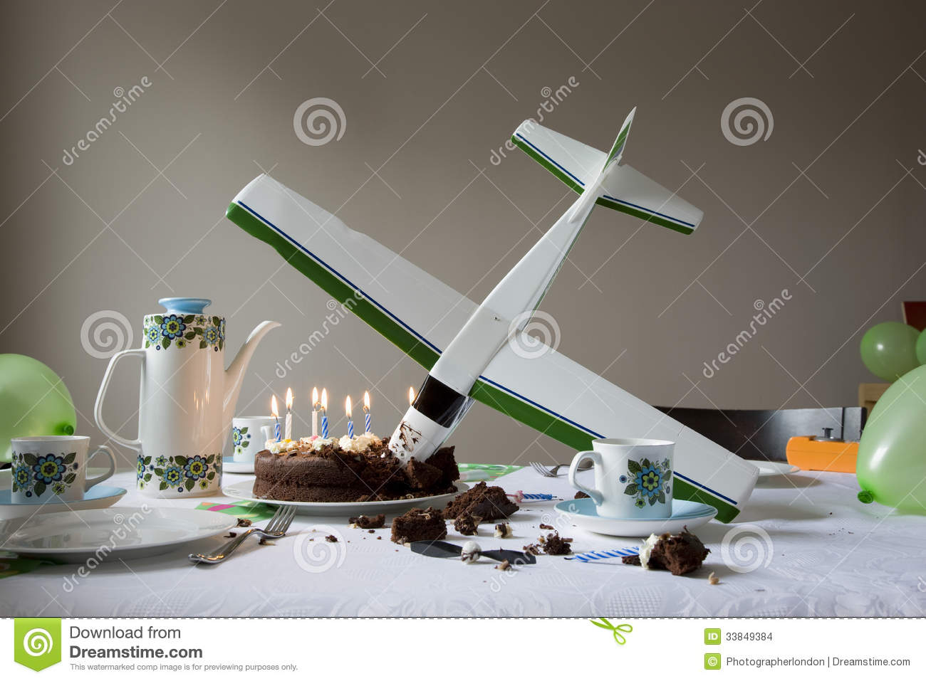 Coffee Table With Seats Model Airplane Into Birthday Cake Stock Photo - Image