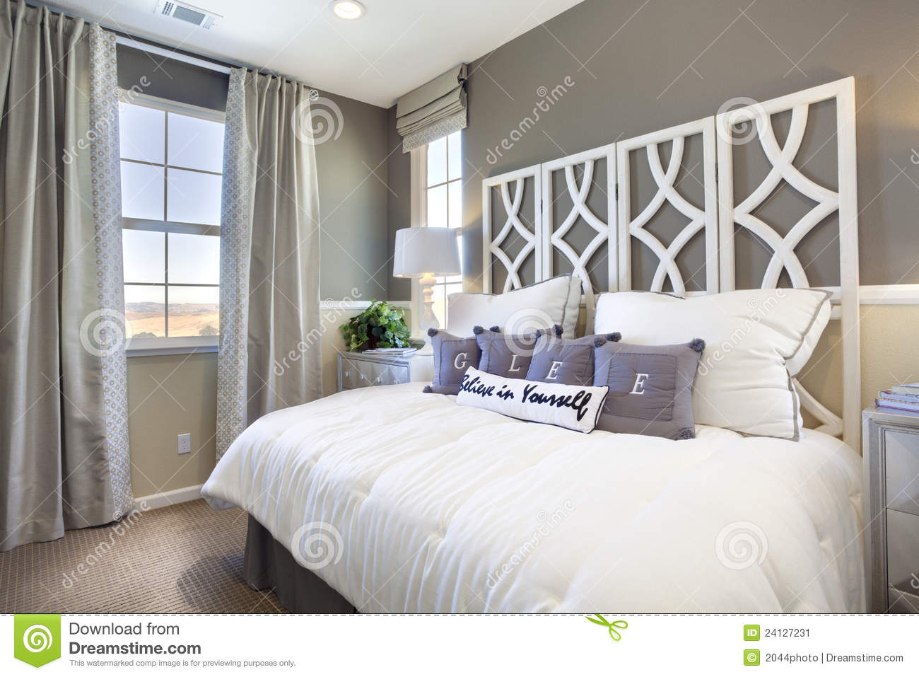 Model Home Bedroom  Taupe  White Stock Image  Image of