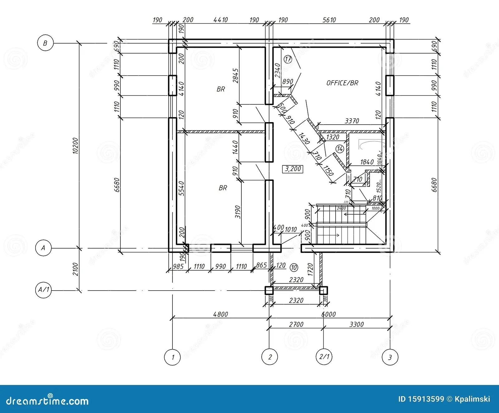 Modelo Do Desenho Da Planta Do CAD Imagens de Stock