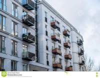 Modern Apartment Building With Small Balconies Stock Photo ...