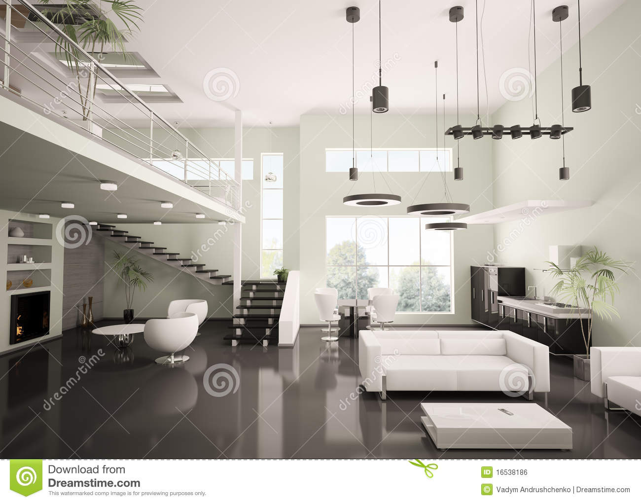 Modern Apartment Interior 3d Render Stock Illustration  Image 16538186