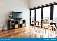 Modern Apartment Living Room With Bi Fold Door To Balcony ...