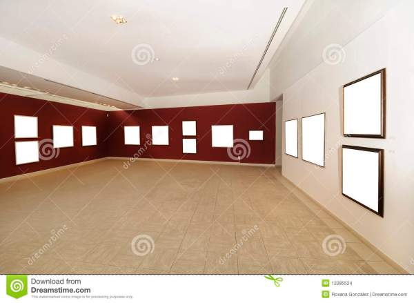Modern Art Space With Blank Canvas Stock