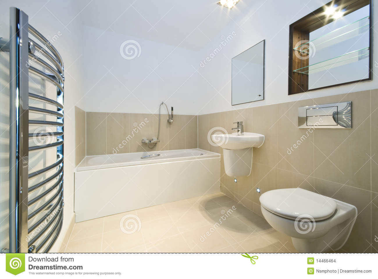 Modern Bathroom With Beige Tiled Walls Stock Images