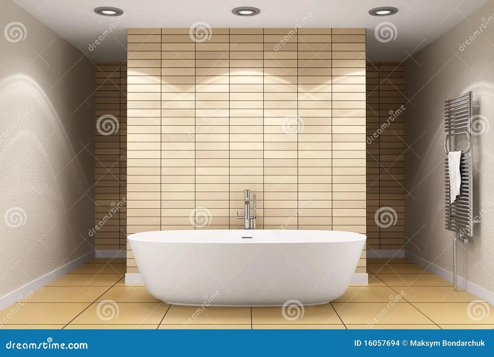Modern Bathroom With Beige Tiles On Wall Stock Photo  Image of bathroom modern 16057694