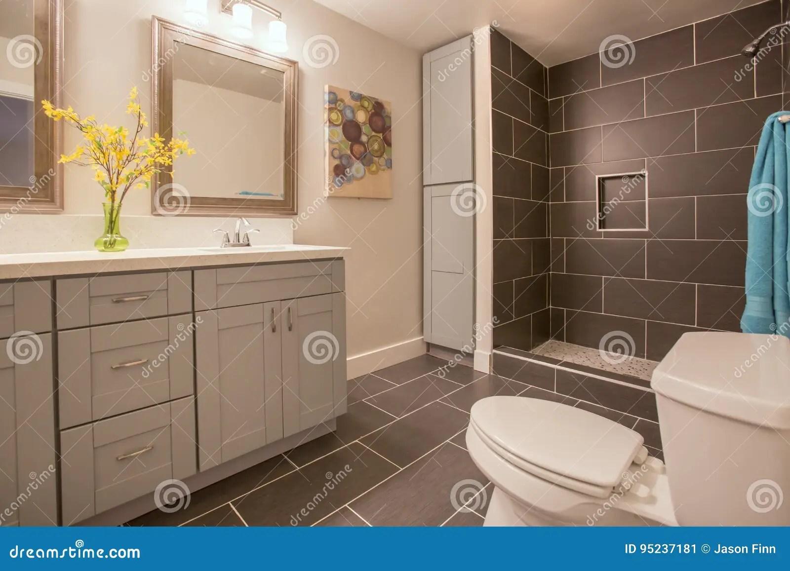 https www dreamstime com stock photo modern bathroom california home plants dark tile shower open concept model homes show off beautiful image95237181