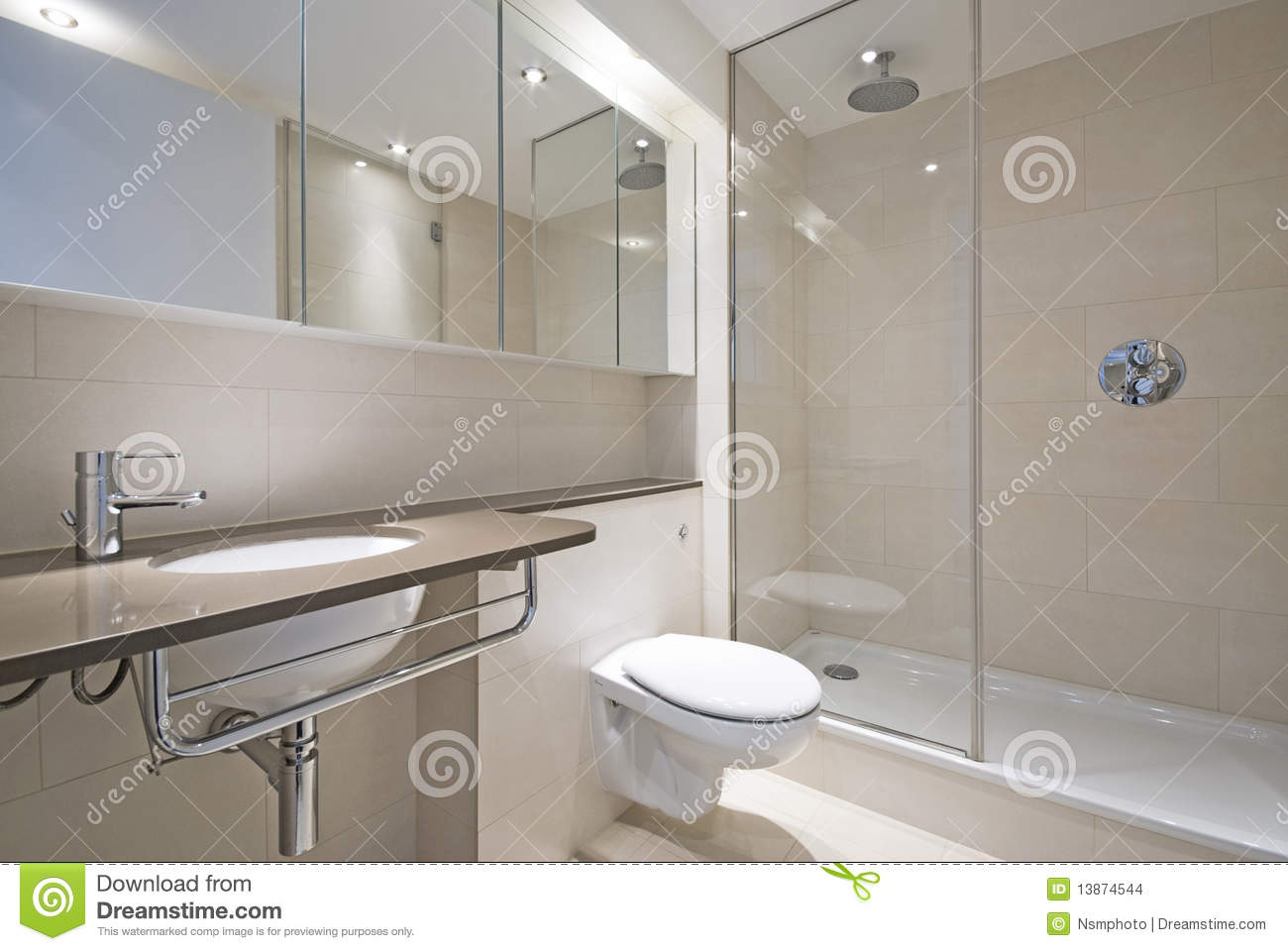 Modern Bathroom With Designer Wash Basin Stock Photo