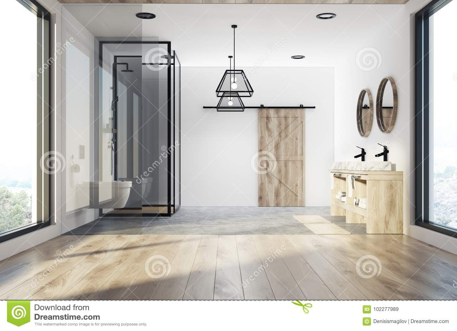 White Bathroom Tub Sink And Shower Stock Illustration