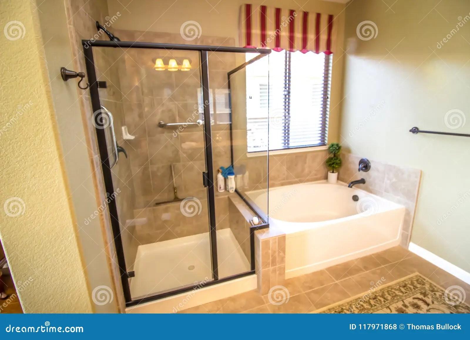 https www dreamstime com modern bathroom shower tub modern bathroom glass enclosed shower bathtub tile floor image117971868