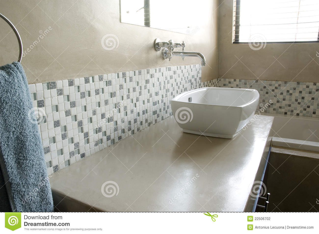 Modern Bathroom Sink With White Mosaics Stock Photo