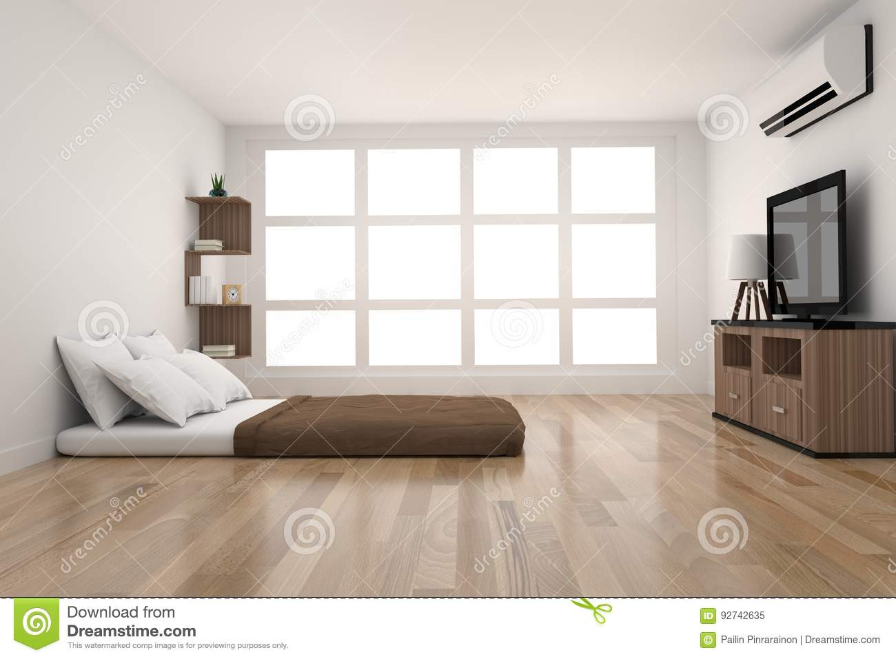 Modern Bedroom Decoration In Parquet Wood Design With