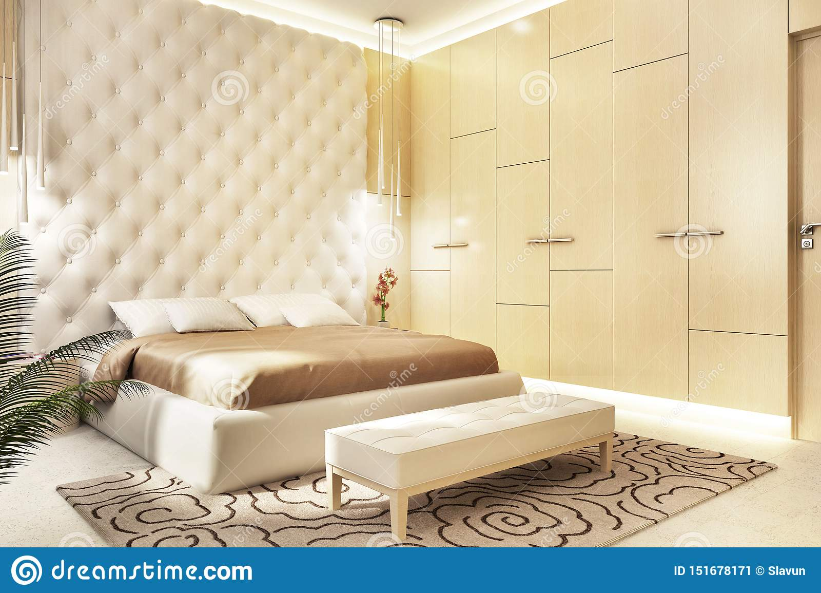 Modern Bedroom Design With Wardrobe Stock Image Image Of Door Headboard 151678171