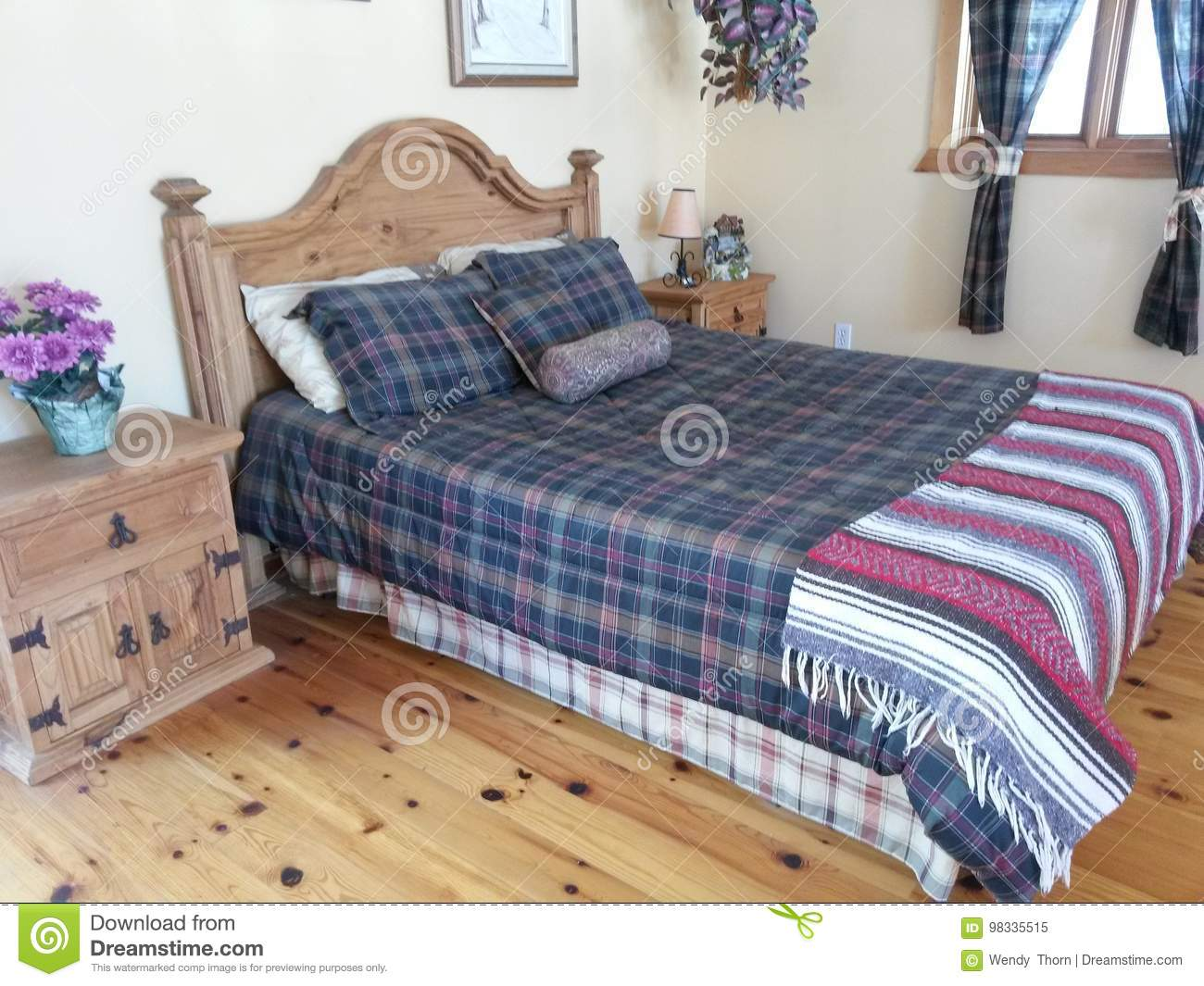 https www dreamstime com stock photo modern bedroom furniture solid wood bed floors contemporary suite night stand table plaid pillow shams head board knotty pine image98335515