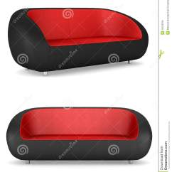 Black And Red Leather Sofa Flexible Arm Tray Uk Modern Couch Isolated Stock Illustration