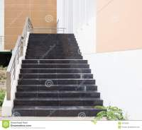 Modern Black Stairs And Metal Handrail Stock Photo - Image ...