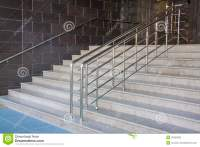 Modern Black Stairs And Metal Handrail Stock Image - Image ...