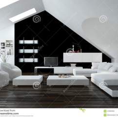 Modern Interior Design Living Room Black And White Paint Colors For Rooms Ideas Loft Stock Illustration With Skylights In The Sloping Ceiling Decor A Suite Cabinets