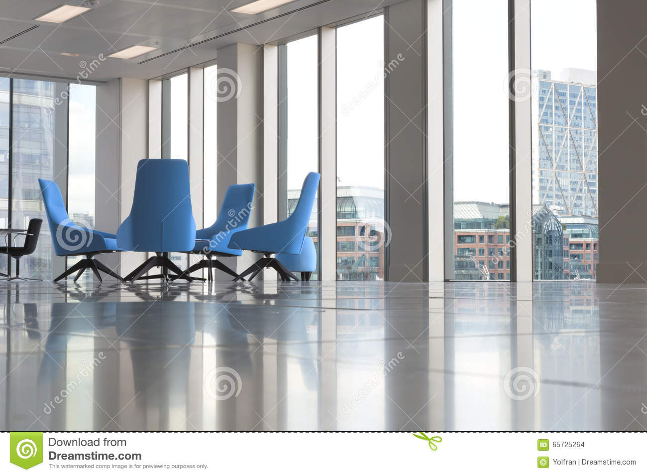 Modern Blue Chairs In New Empty Office By The Windows