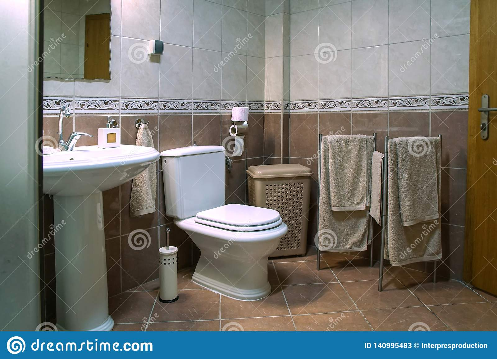 https www dreamstime com modern brown bathroom sink toilet bowl towels tiles white image140995483