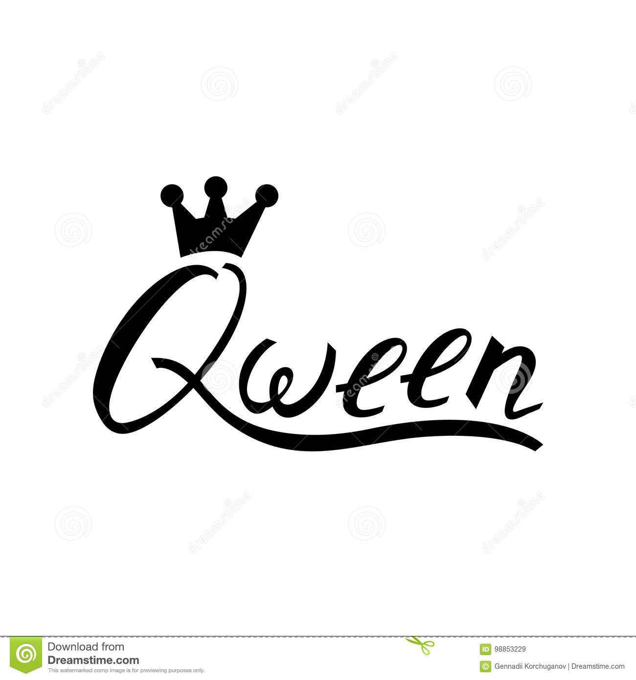 Modern Brush Inscription Queen With Crown Stock Vector