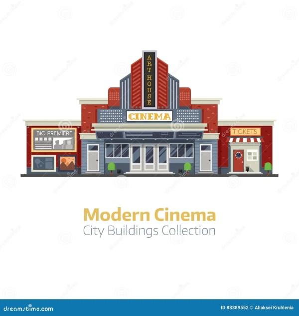 Modern Cinema Building Exterior Stock Vector