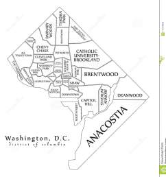 modern city map washington dc city of the usa with neighborhoo [ 1298 x 1300 Pixel ]