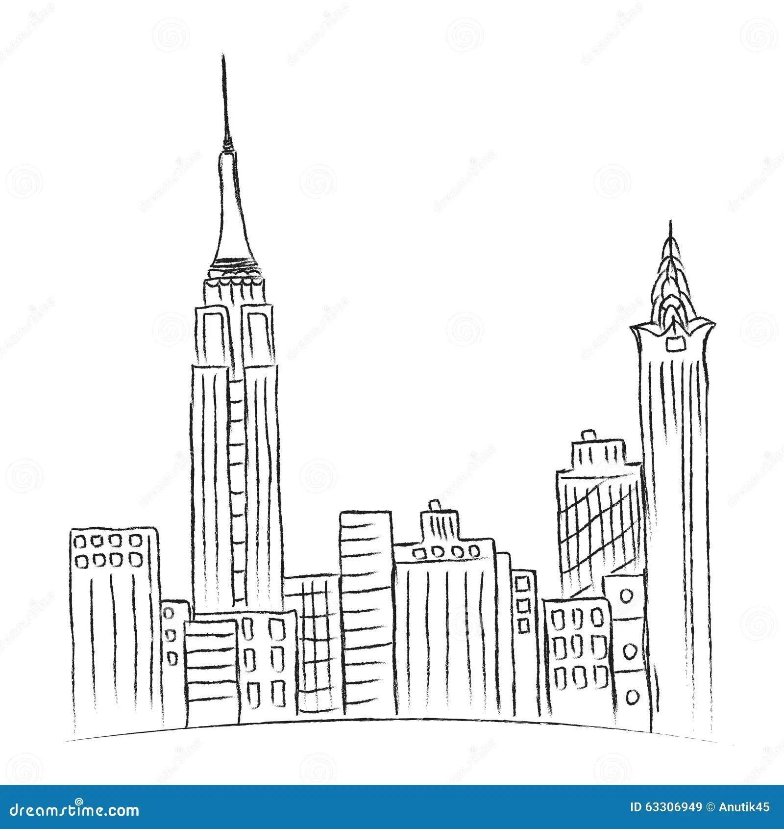 Modern City New York Sketch City Line Stock Vector
