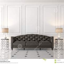 Contemporary Living Room With Black Leather Sofa Country Style Images Modern Classic 3d Render Stock There Are Empty White Wall Furnished