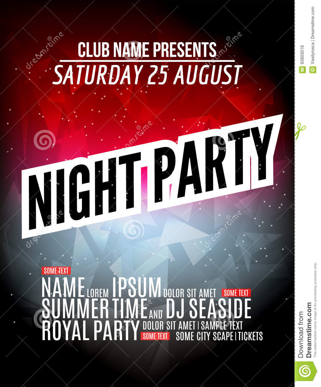 Download Modern Club Music Party Template, Night Dance Party Flyer, Brochure.  Night Party