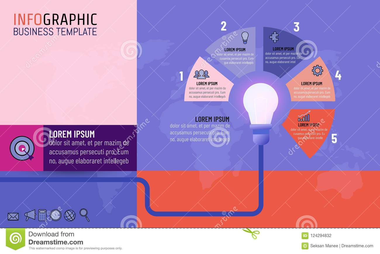 Light Bulb Inforgraphic Template For Business Idea