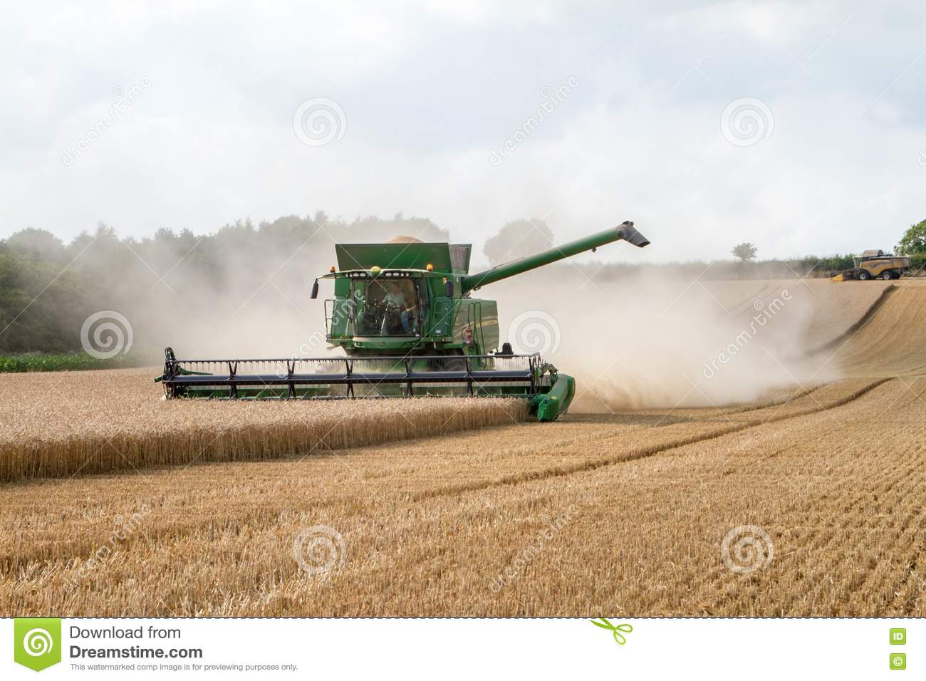 Modern Combine Harvester Cutting Crops Corn Wheat Barley