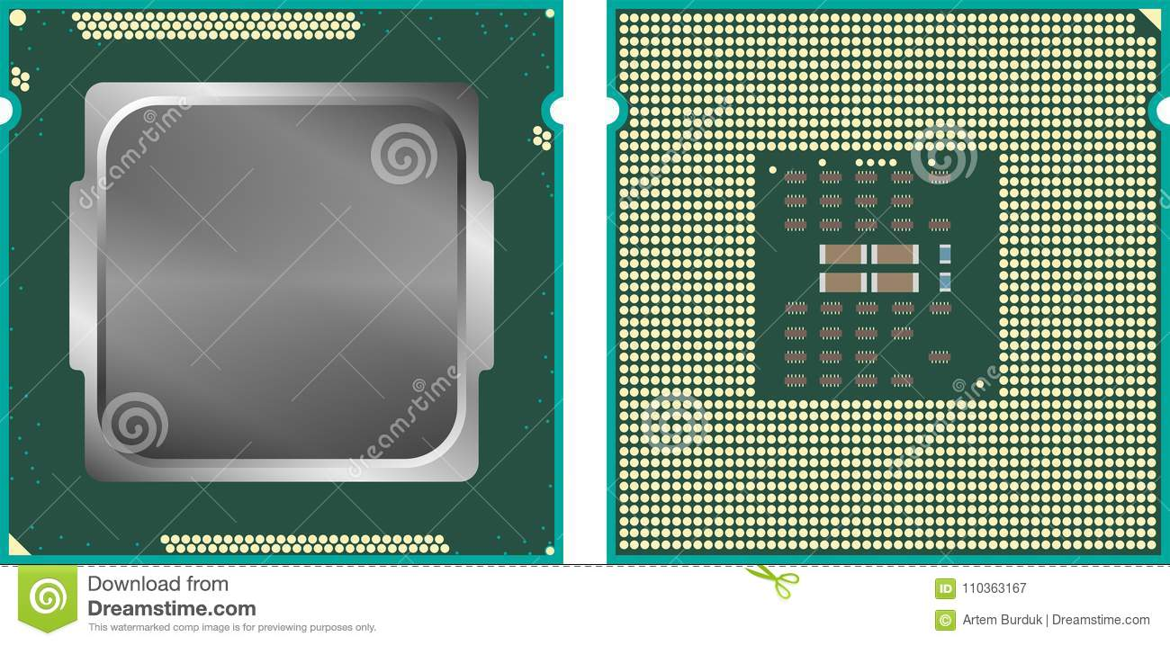 hight resolution of modern computer core processing unit cpu front and back face isolated on white background