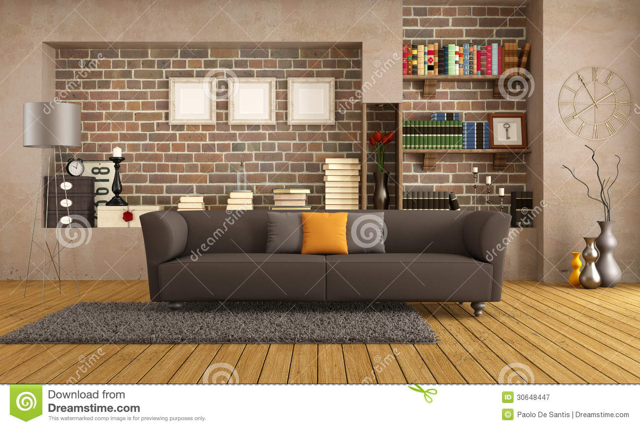 modern sofa plans free reading couch in a vintage living room stock illustration ...