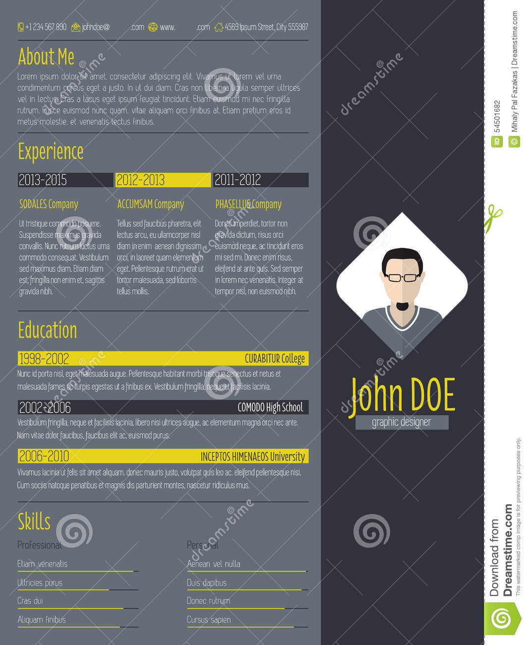 Modern Curriculum Vitae Resume With Dark Background Stock