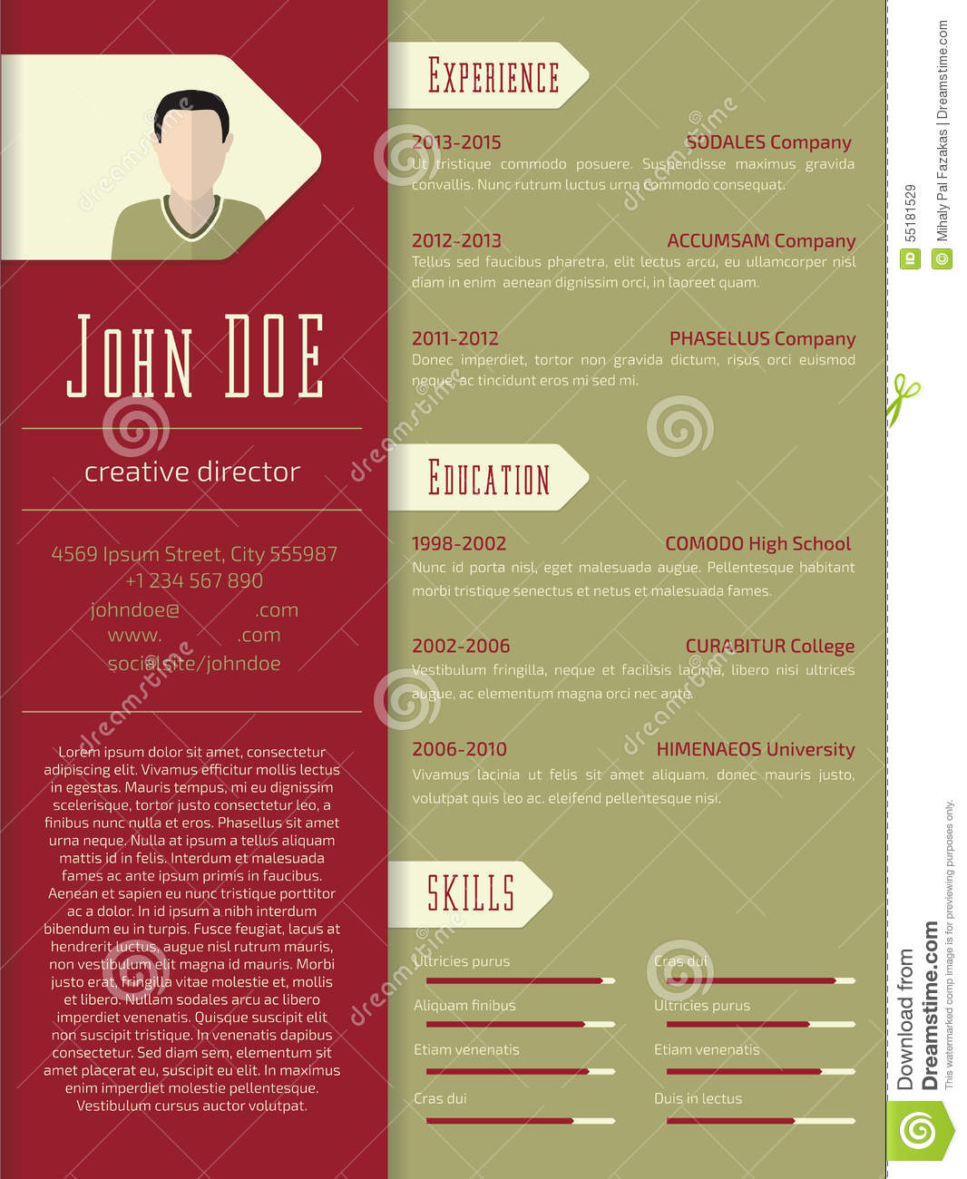 Modern Resume Template Download Modern Cv Resume Template Design Stock Illustration Illustration