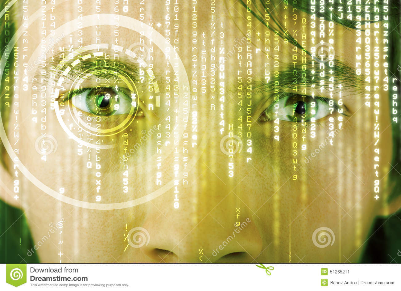 hight resolution of modern cyber soldier with target matrix eye