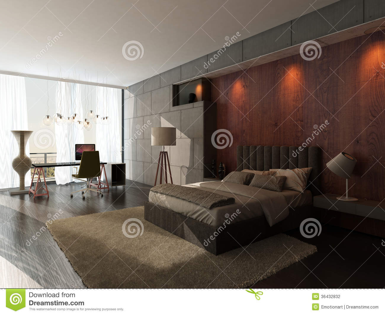 Modern Design Bedroom Interior With Wooden And Stone Wall