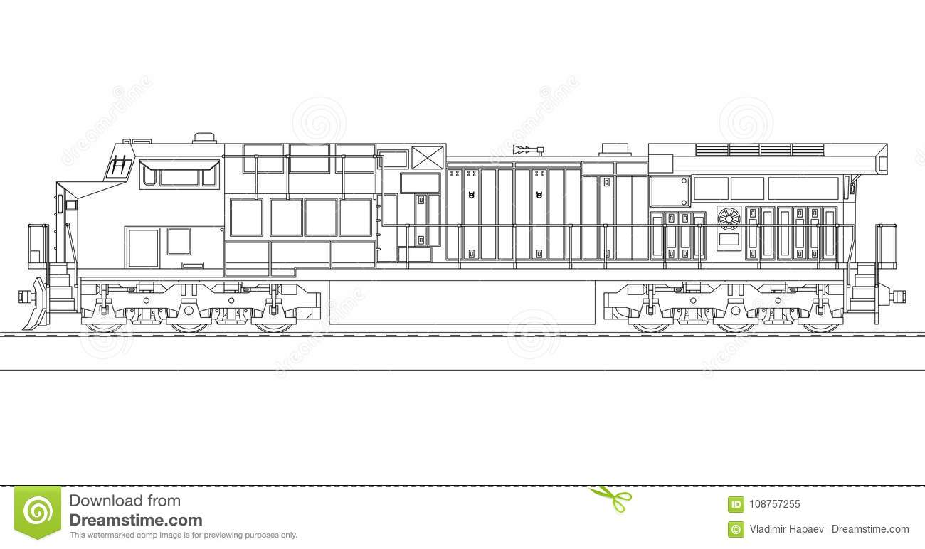 hight resolution of modern diesel railway locomotive with great power and strength for moving long and heavy railroad train