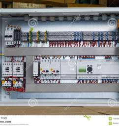 modern electrical control cabinet with controller and circuit breakers motor protection switches contactors with thermal relays fuse operated breakers  [ 1300 x 957 Pixel ]
