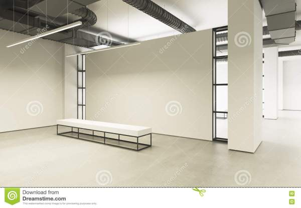 Modern Empty Minimalistic Interior Of Exhibition With Clean Walls. Loft Design Art