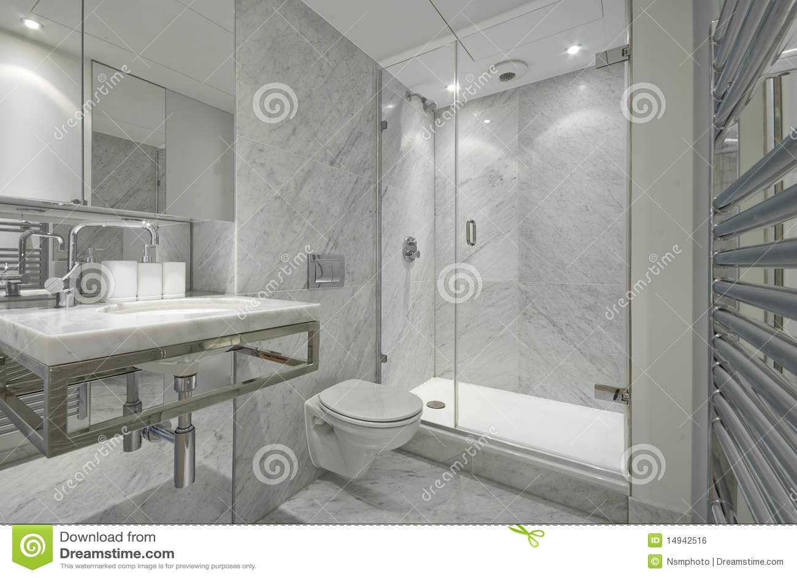 Modern En Suite Marble Bathroom In White Royalty Free Stock Image  Image 14942516
