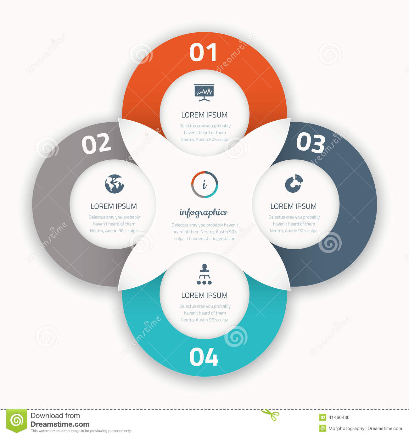 3 arrow circle diagram connection wiring modern four infographic options business template icons stock illustration - image: 41466430