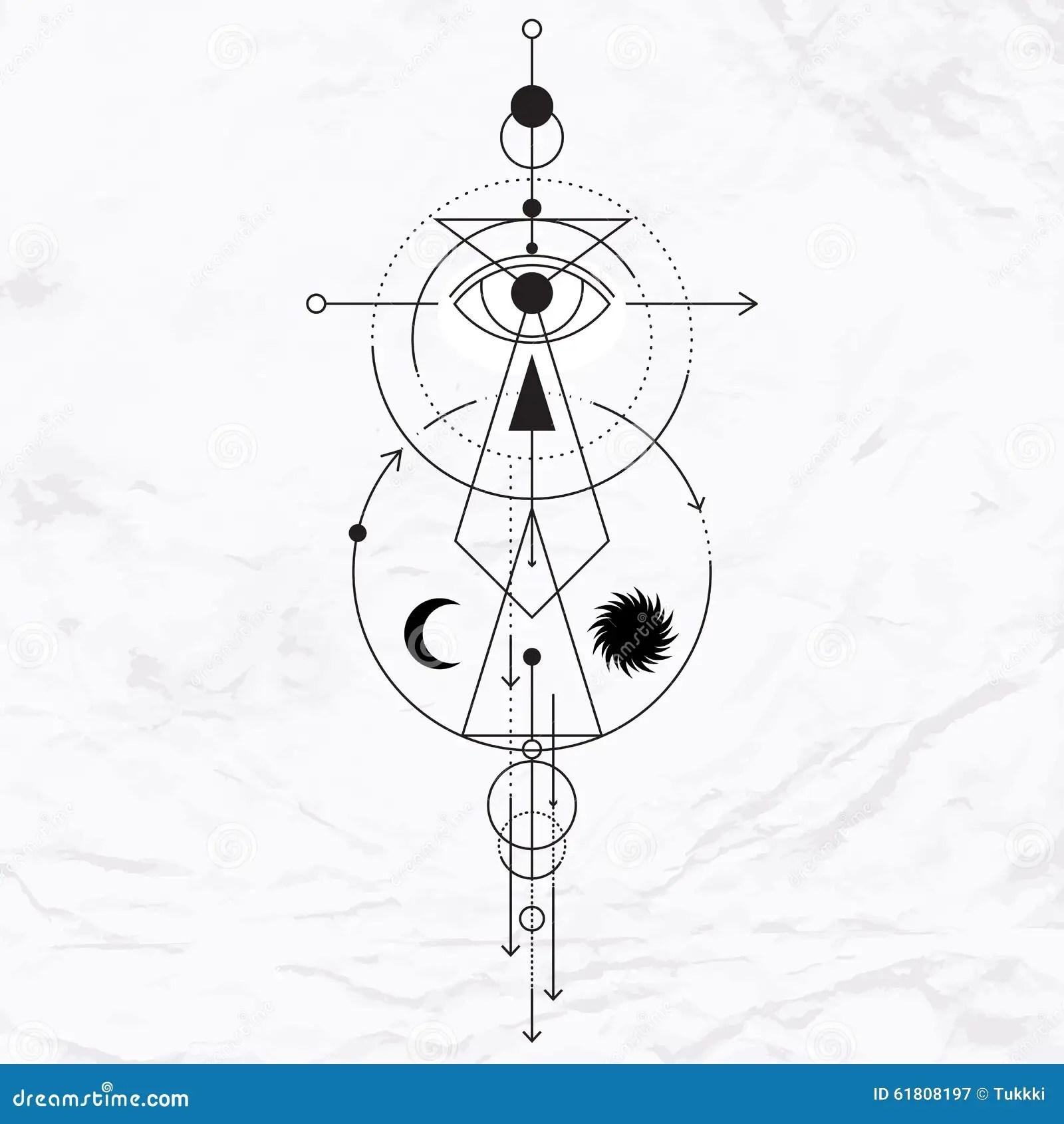 Modern Geometric Alchemy Symbol Stock Vector